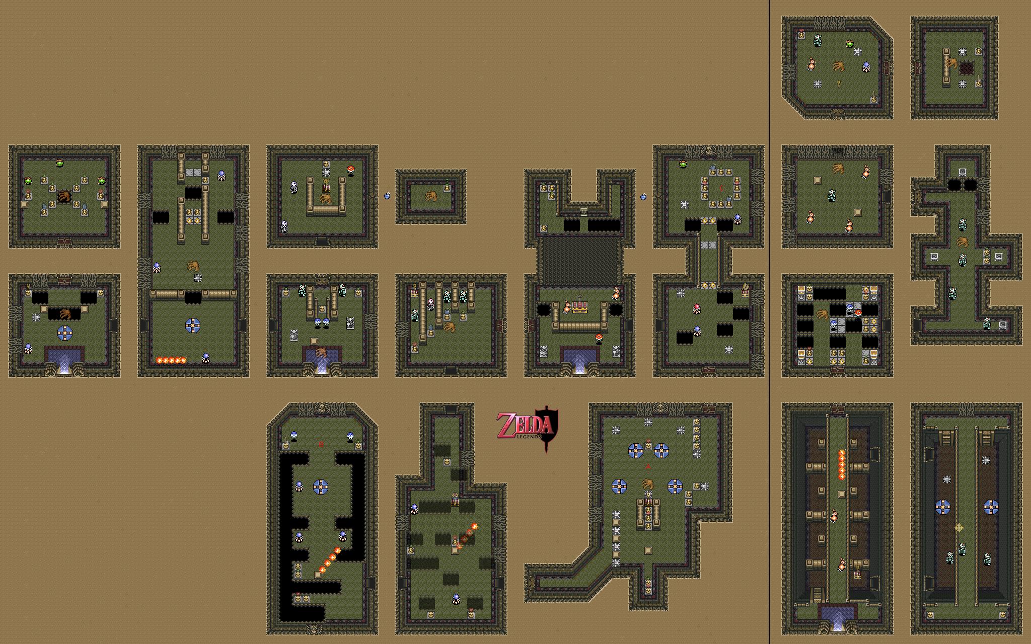 Zelda legends the library visual guides alttp 11 for Floor 4 mini boss map swordburst 2